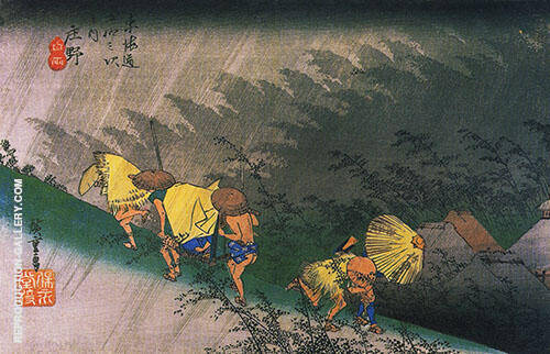 Rain Shower at Shono Painting By Hiroshige - Reproduction Gallery