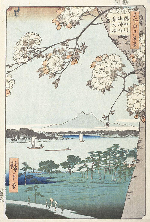 Sumida River in the Wood of the Water God Painting By Hiroshige