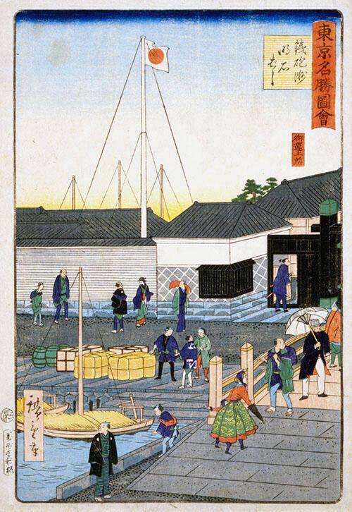 Teppozu Akashi Bashi III 1870 Painting By Hiroshige - Reproduction Gallery