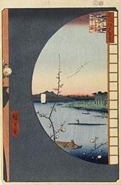 View from Massaki at Suijin Shrine Uchigawa Inlet and Sekiya By Hiroshige