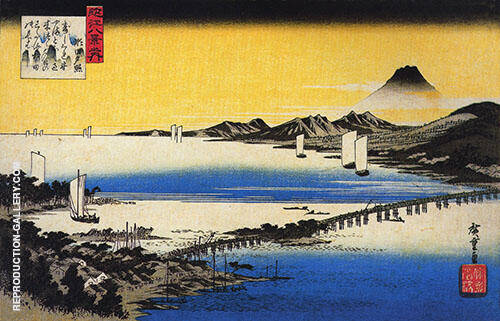 View of a Long Bridge Across a Lake Painting By Hiroshige