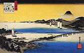 View of a Long Bridge Across a Lake By Hiroshige