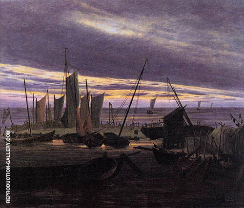 Boats in The Harbour at Evening Painting By Caspar David Friedrich