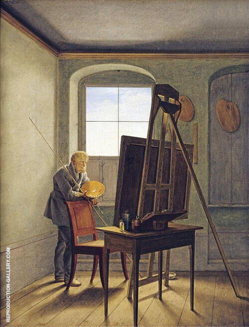 Caspar David Friedrich in his Studio 1819 By Caspar David Friedrich