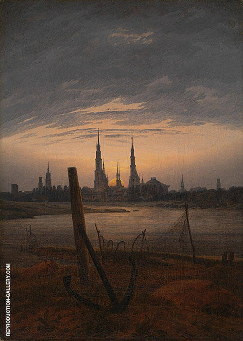 City at Moonrise 1817 By Caspar David Friedrich