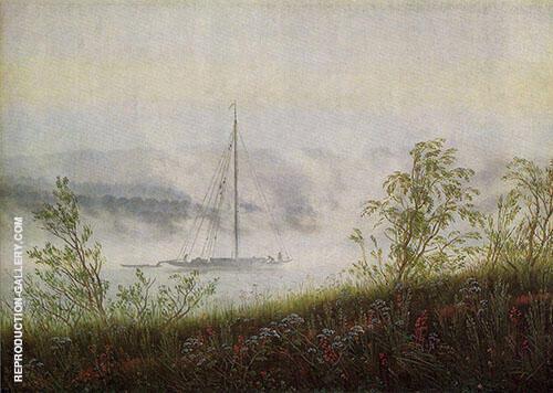 Elbschiff im Fruehnebel By Caspar David Friedrich