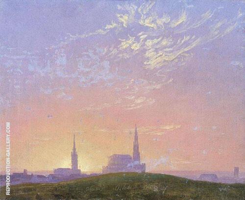 Evening Sunset Behind Dresden's Hofkirche 1824 By Caspar David Friedrich
