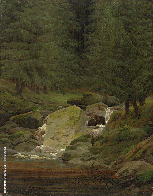 Evergreens by The Waterfall 1828 Painting By Caspar David Friedrich
