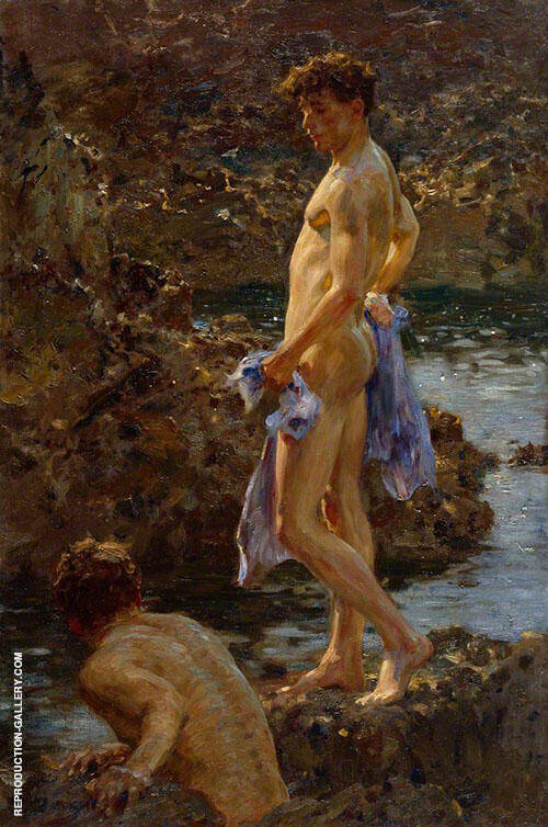 A Bathing Group 1914 Painting By Henry Scott Tuke - Reproduction Gallery