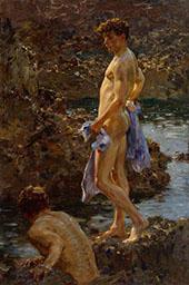 A Bathing Group 1914 By Henry Scott Tuke