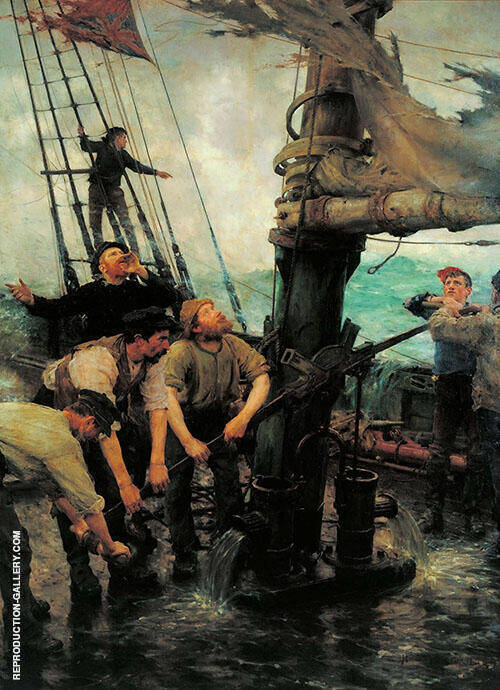 All Hands to the Pump Painting By Henry Scott Tuke - Reproduction Gallery
