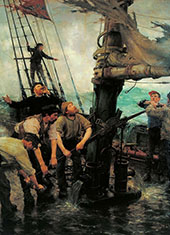 All Hands to the Pump By Henry Scott Tuke