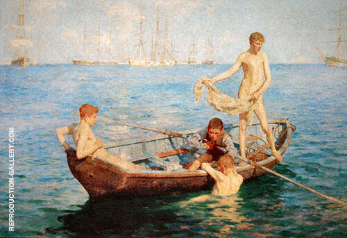 August Blue 1893 Painting By Henry Scott Tuke - Reproduction Gallery