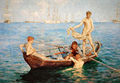 August Blue 1893 By Henry Scott Tuke