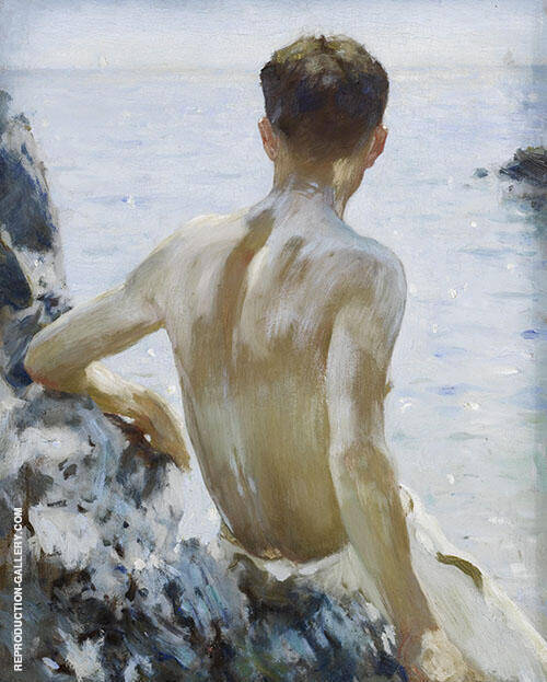 Beach Study 1928 Painting By Henry Scott Tuke - Reproduction Gallery