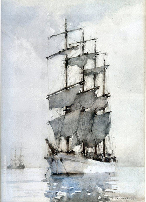 Four Masted Barque Painting By Henry Scott Tuke - Reproduction Gallery