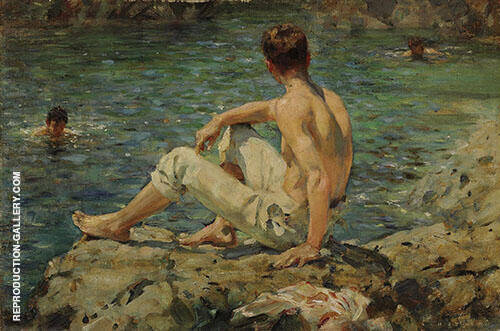 Green and Gold 1920 Painting By Henry Scott Tuke - Reproduction Gallery