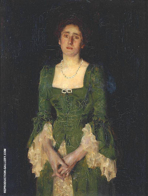 Portrait of Mrs Florence Humphris Painting By Henry Scott Tuke