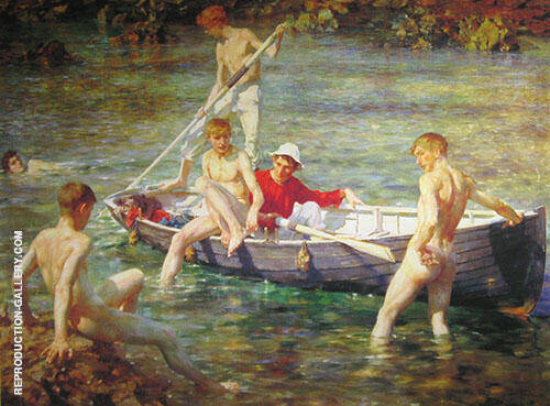 Ruby Gold and Malachite 1902 Painting By Henry Scott Tuke