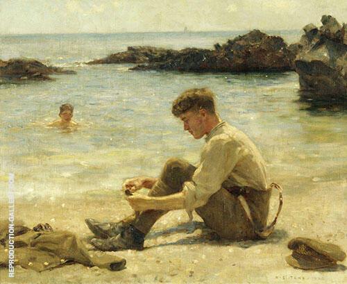 Lawrence as a Cadet at Newporth Beach near Falmouth By Henry Scott Tuke