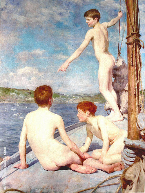 Bathers 1888 Painting By Henry Scott Tuke - Reproduction Gallery