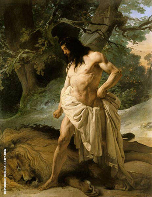 Samson and the Lion 1842 Painting By Francesco Hayez