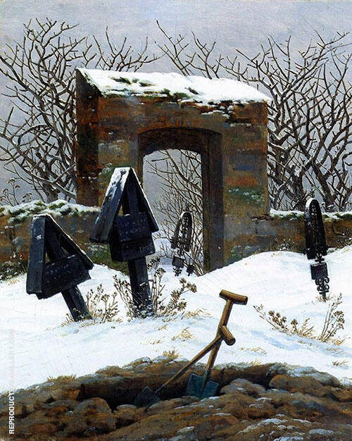 Graveyard Under Snow 1826 Painting By Caspar David Friedrich