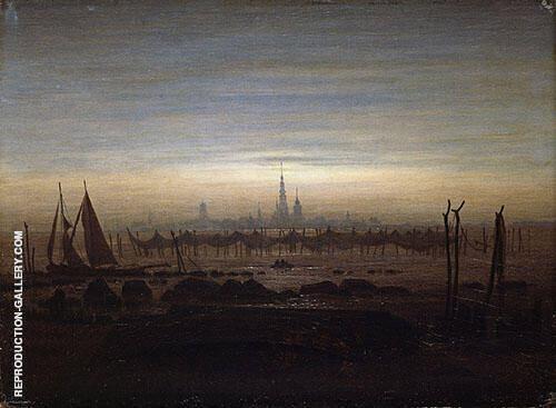 Greifswald in Moonlight 1817 Painting By Caspar David Friedrich