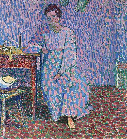 Anna Amiet Sitting at the Table 1906 By Cuno Amiet