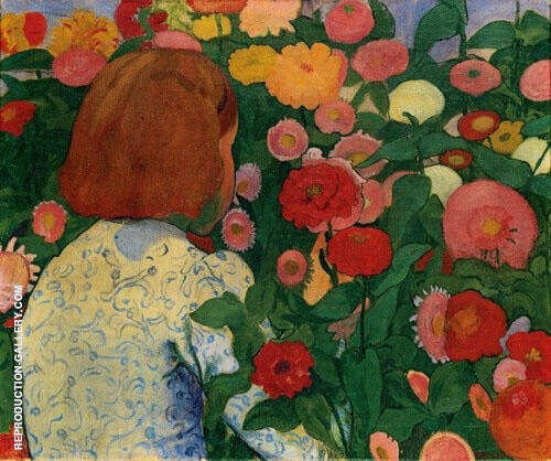 Girl in Flowers 1896 By Cuno Amiet