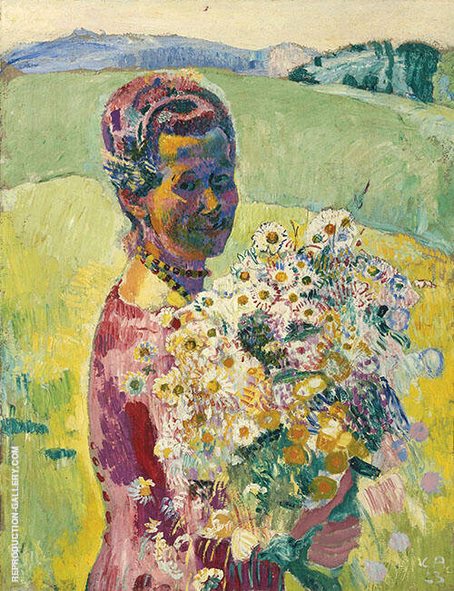 Lady with Flowers 1896 By Cuno Amiet