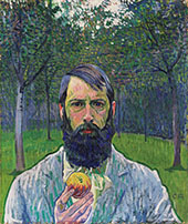 Self-Portrait with Apple 1803 By Cuno Amiet