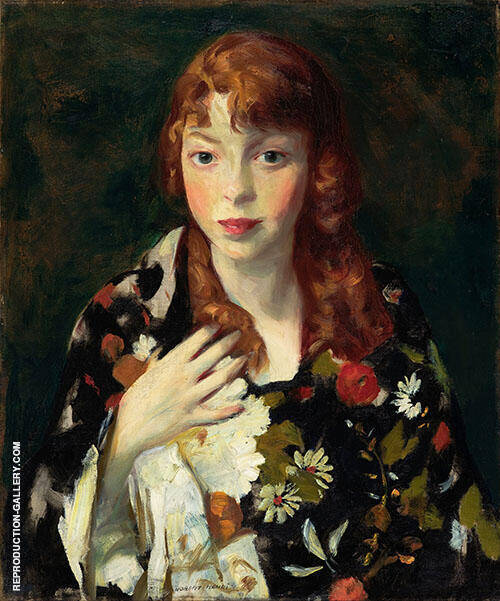 Edna Smith in a Japanese Wrap 1915 Painting By Robert Henri