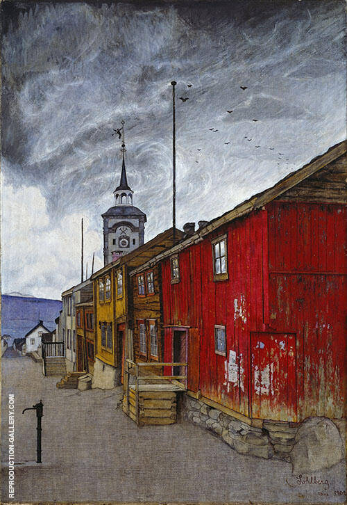 Street in Roros 1902 Painting By Harald Sohlberg - Reproduction Gallery