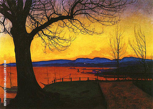 Evening Akershus 1913 Painting By Harald Sohlberg - Reproduction Gallery