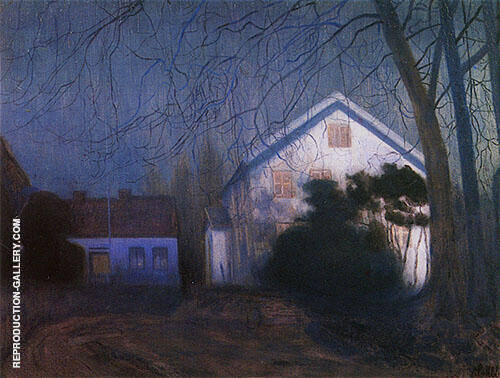 Moonlight 1909 Painting By Harald Sohlberg - Reproduction Gallery
