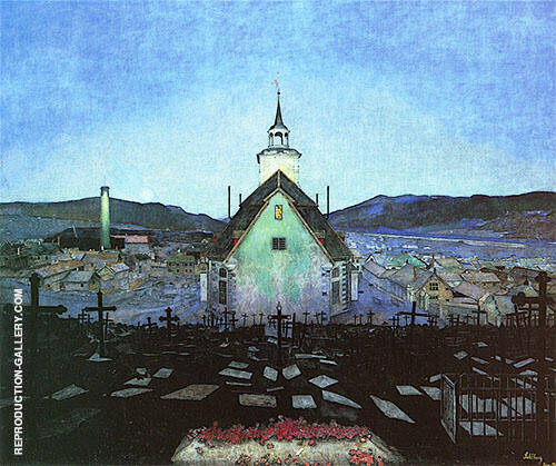 Night 1904 Painting By Harald Sohlberg - Reproduction Gallery