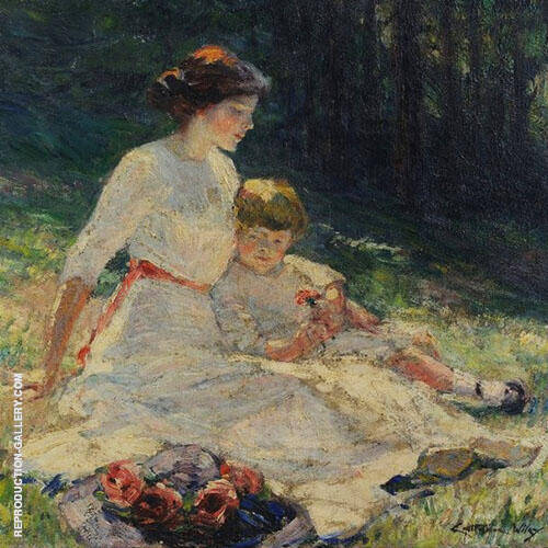 Seated Mother and Child in a Meadow 1913 Painting By Catherine Wiley