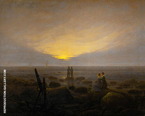 Moonrise by The Sea Painting By Caspar David Friedrich
