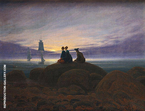 Moonrise over The Sea 1822 Painting By Caspar David Friedrich