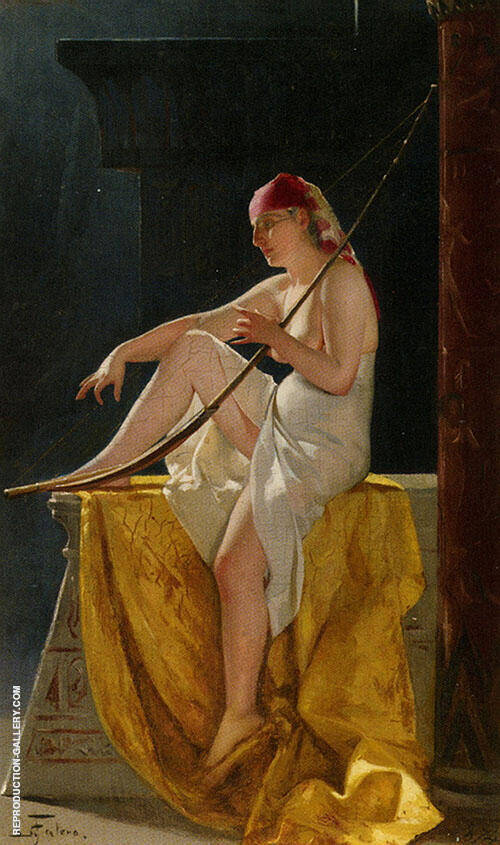 Girl with Harp 1874 By Luis Ricardo Falero