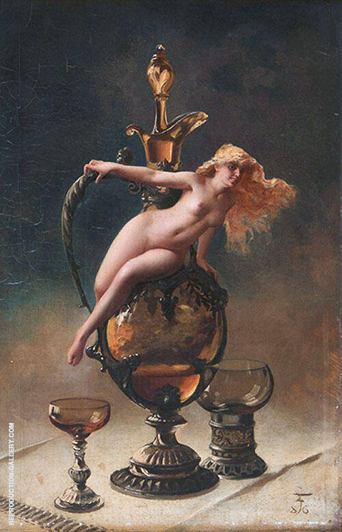 Le Vin Ginguet 1887 Painting By Luis Ricardo Falero - Reproduction Gallery