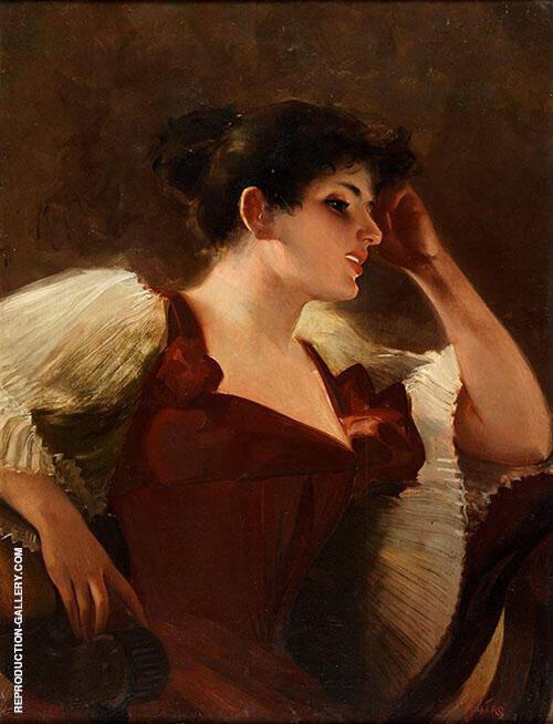 Retrato de la Hija del Artista Painting By Luis Ricardo Falero