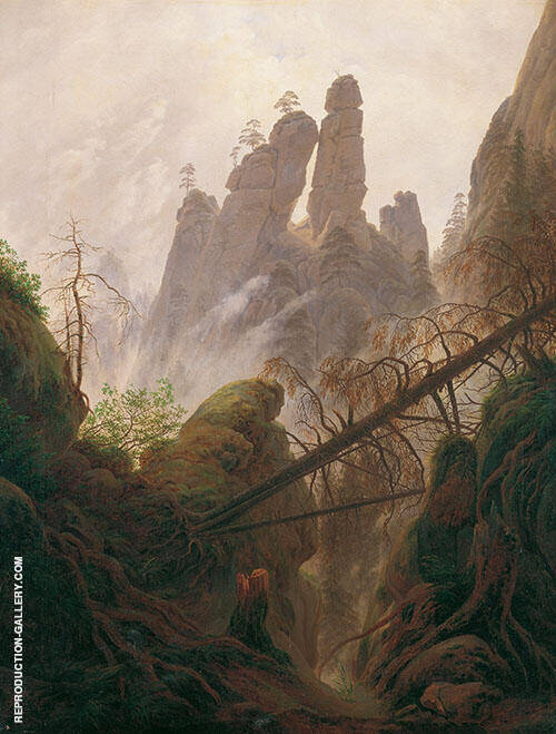 Rocky Landscape in The Elbe Sandstone Mountains 1822 Painting By ...