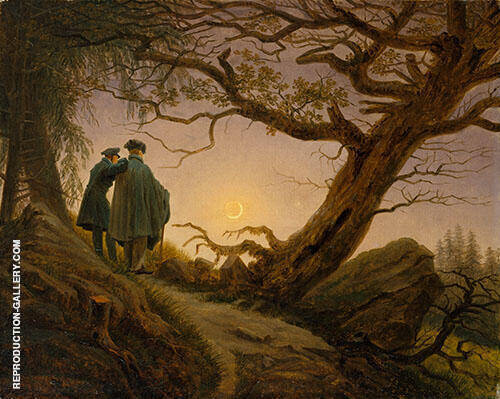 Two Men Contemplating The Moon 1825 By Caspar David Friedrich
