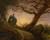 Two Men Contemplating The Moon 1825 By Caspar David Friedrich