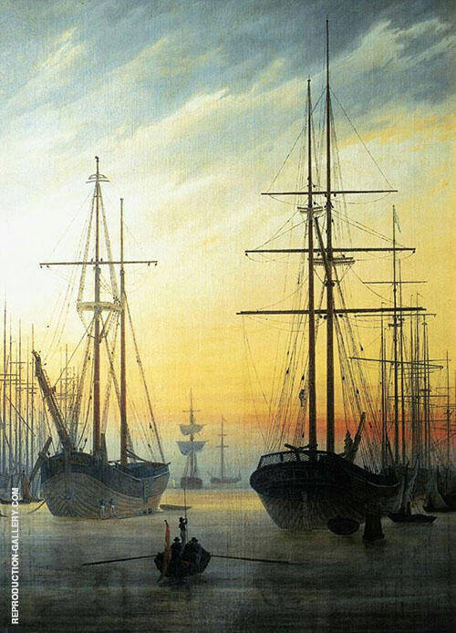 View of a Harbour 1815 By Caspar David Friedrich
