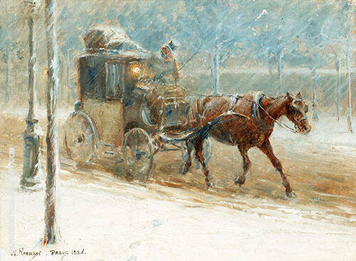 Boulevard Scene with Horse and Coach in Winter 1886 By Nils Kreuger