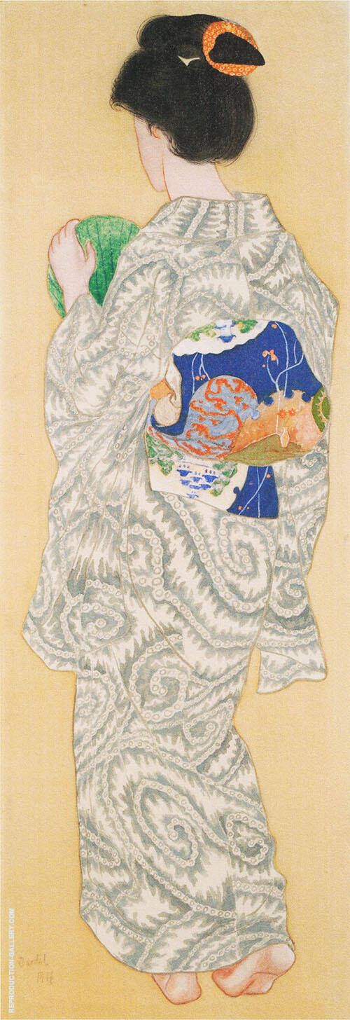 Japanese Woman with Back Towards the Viewer Painting By Nils Dardel