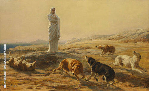 Pallas Athena and the Herdsman's Dogs Painting By Briton Riviere